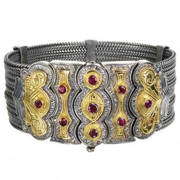 Gerochristo 6025 ~ Solid 18K Gold, Sterling Silver & Rubies Multi Chain Byzantine Bracelet