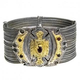Gerochristo 6026 ~ Solid Gold, Silver & Garnet Multi Strand Byzantine-Medieval Bracelet