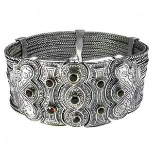 Gerochristo 6027 ~ Sterling Silver & Garnet Multi Strand Byzantine Medieval Bracelet