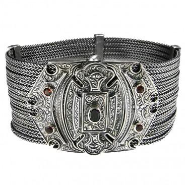 Gerochristo 6028 ~ Sterling Silver & Garnet Multi Strand Byzantine-Medieval Bracelet