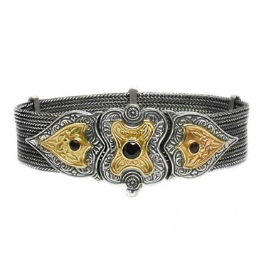Gerochristo 6029 ~ Solid 18K Gold, Sterling Silver & Garnet Multi Chain Byzantine Bracelet