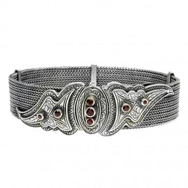 Gerochristo 6032 ~ Sterling Silver & Garnet Byzantine Medieval Chain Bracelet