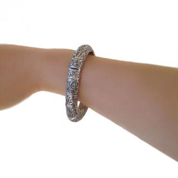 Gerochristo 6042N ~ Sterling Silver Medieval-Byzantine Bangle Bracelet