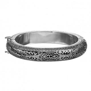 Gerochristo 6043N ~ Sterling Silver Medieval-Byzantine Bangle Bracelet