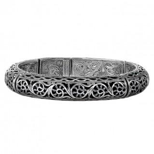 Gerochristo 6044N - Sterling Silver Bangle Bracelet with Floral Motifs