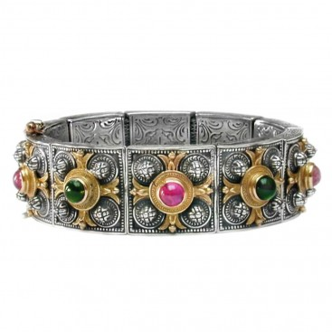 Gerochristo 6045 ~ Solid Gold, Silver & Stones - Medieval Byzantine Bracelet