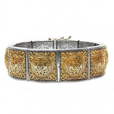 Gerochristo 6063 ~ Solid 18K Gold & Sterling Silver Medieval-Byzantine Imperial Bracelet