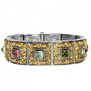 Gerochristo 6078 ~ Solid Gold, Silver & Gemstones - Medieval Byzantine Bracelet