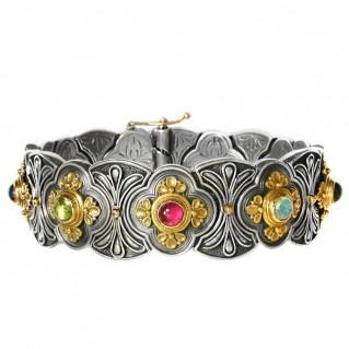 Gerochristo 6080 ~ Solid Gold, Silver & Stones - Medieval Byzantine Bracelet