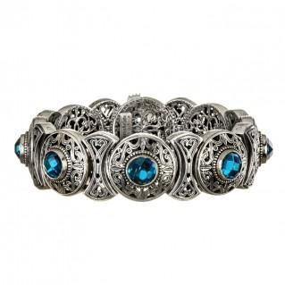 Gerochristo 6097N ~ Sterling Silver & Gemstone Medieval-Byzantine Bangle Bracelet
