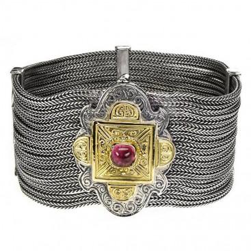 Gerochristo 6117 ~ Solid Gold, Silver & Tourmaline Multi Strand Byzantine-Medieval Bracelet