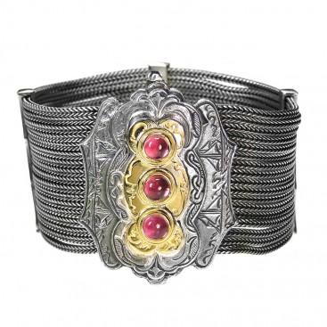 Gerochristo 6118 ~ Solid Gold, Silver & Tourmaline Multi Strand Byzantine-Medieval Bracelet