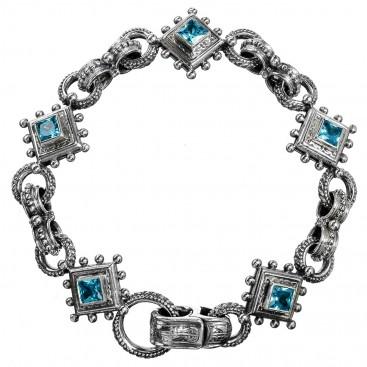 Gerochristo 6126N ~ Sterling Silver & Zircon Medieval-Byzantine Link Bracelet