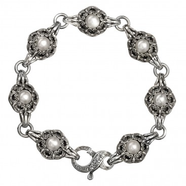 Gerochristo 6127N ~ Sterling Silver & Pearls Medieval-Byzantine Link Bracelet