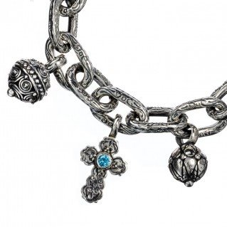 Gerochristo 6144N ~Medieval Byzantine Silver Charm Bracelet with Crosses