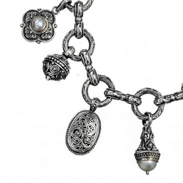 Gerochristo 6146N ~ Sterling Silver & Pearls - Medieval Byzantine Charm Bracelet