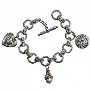 Gerochristo 6149N ~ Solid Gold & Sterling Silver - Medieval Charm Bracelet