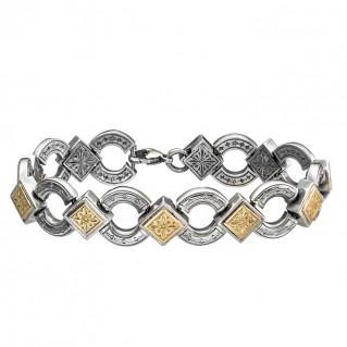 Gerochristo 6155 ~ Solid Gold & Sterling Silver Medieval - Byzantine Bracelet