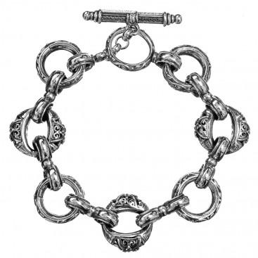 Gerochristo 6162N ~ Sterling Silver Medieval Link Charm Bracelet