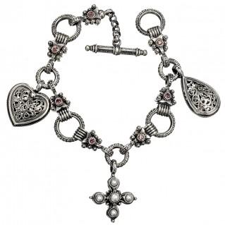 Gerochristo 6164N ~ Sterling Silver Medieval-Byzantine Charm Bracelet