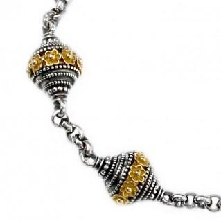 Gerochristo 6169 ~ Solid 18K Gold, Silver & Ruby - Byzantine Medieval Bracelet