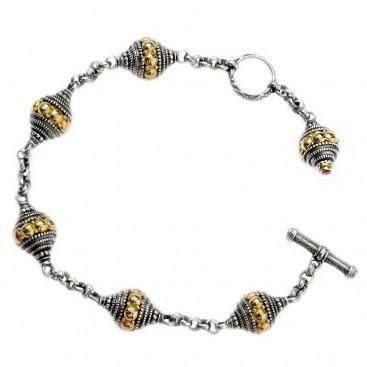 Gerochristo 6170 ~ Solid 18K Gold, Silver & Ruby - Byzantine Medieval Bracelet
