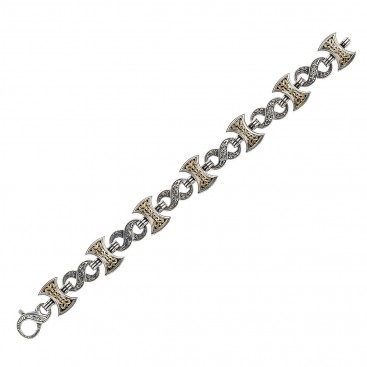 Gerochristo 6215N ~ Solid Gold and Silver Men's Link Bracelet - Double Axe
