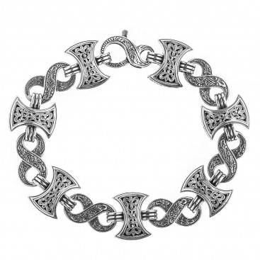 Gerochristo 6216N ~ Sterling Silver Men's Link Bracelet - Double Axe