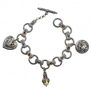 Gerochristo 6223 ~ Solid 18K Gold & Silver - Filigree Charm Bracelet