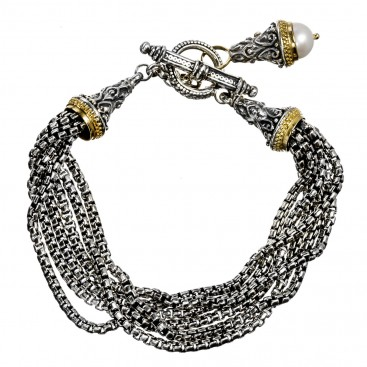 Gerochristo 6227 ~ Solid Gold, Silver, Pearl & Ruby Multi Chain Byzantine Medieval Bracelet