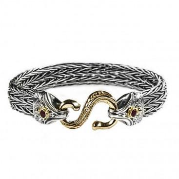 Gerochristo 6228 ~Solid Gold & Silver Medieval Byzantine Rope Bracelet