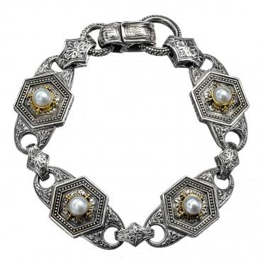 Gerochristo 6234N ~ Solid Gold, Silver & Pearl Medieval-Byzantine Link Bracelet