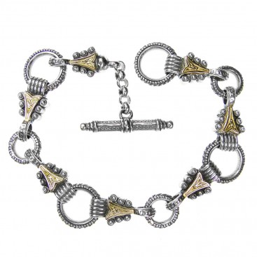 Gerochristo 6235 ~ Solid Gold & Silver Medieval Byzantine Link Charm Bracelet