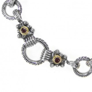 Gerochristo 6236 ~ Solid Gold, Silver & Rubies Medieval Byzantine Link Charm Bracelet