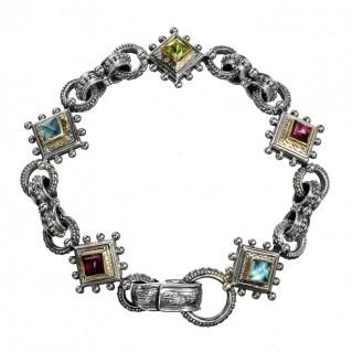 Gerochristo 6240 ~ Solid 18K Gold & 925 Sterling Silver Medieval-Byzantine Bracelet