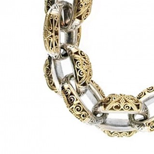 Gerochristo 6252 ~ Solid 18K Gold & Sterling Silver Medieval - Byzantine Link Bracelet