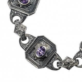 Gerochristo 6252N ~ Sterling Silver & Zircon Medieval-Byzantine Link Bracelet