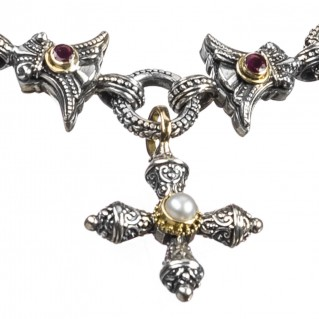 Gerochristo 6253 ~ Solid 18K Gold & 925 Sterling Silver Medieval-Byzantine Bracelet with Charms
