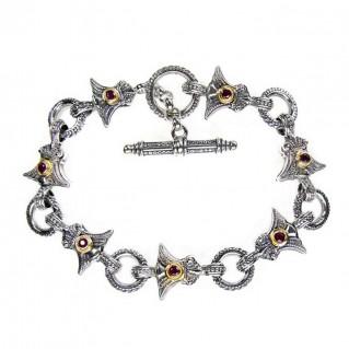 Gerochristo 6254 ~ Solid 18K Gold & Sterling Silver Medieval- Byzantine Link Bracelet