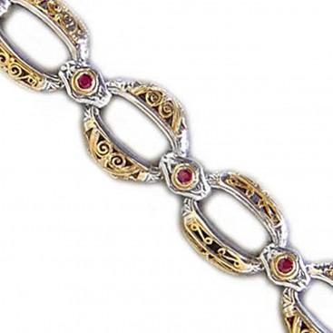Gerochristo 6255~ Solid 18K Gold & Sterling Silver Medieval Link Bracelet