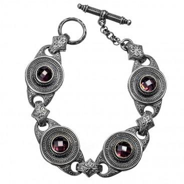 Gerochristo 6255N ~ Sterling Silver & Zircon Medieval-Byzantine Link Bracelet