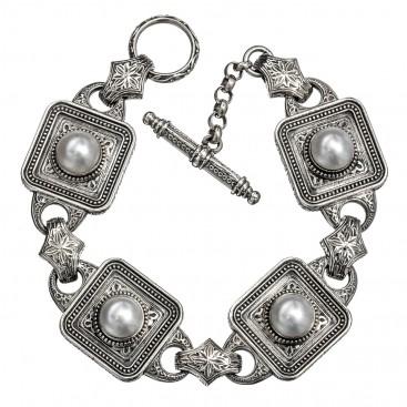 Gerochristo 6256N ~ Sterling Silver & Pearls Medieval-Byzantine Link Bracelet
