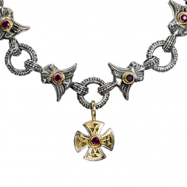 Gerochristo 6259~ Solid 18K Gold & Sterling Silver Medieval Link Bracelet with Charms