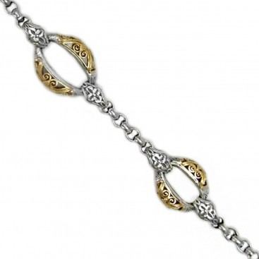 Gerochristo 6260 ~ Solid 18K Gold & Sterling Silver Medieval Link Bracelet
