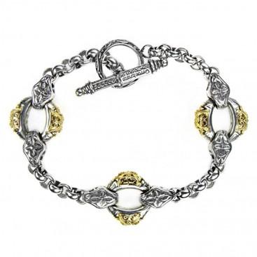 Gerochristo 6261 ~ Solid 18K Gold & Sterling Silver Medieval - Byzantine Link Bracelet