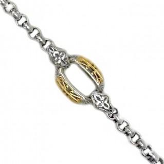 Gerochristo 6262 ~ Solid 18K Gold & Sterling Silver Medieval Link Bracelet