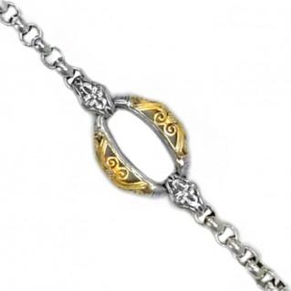 Gerochristo 6263 ~ Solid 18K Gold & Sterling Silver Medieval Link Bracelet