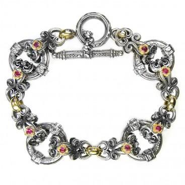 Gerochristo 6264 ~ Solid 18K Gold & Sterling Silver Medieval- Byzantine Link Bracelet