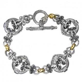 Gerochristo 6265 ~ Solid 18K Gold & Sterling Silver Medieval - Byzantine Link Bracelet