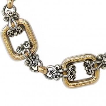 Gerochristo 6266 ~ Solid 18K Gold & Sterling Silver Medieval- Byzantine Link Bracelet